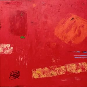 """Light Red Abstraction, 30 x 30"""", oil pastel on paper"""